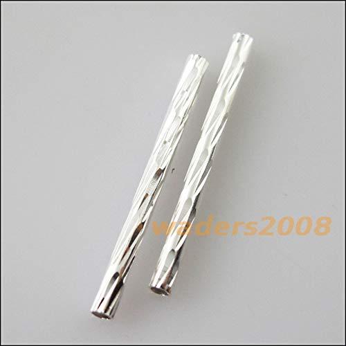 Calvas 40Pcs Connectors Stripe Straight Tube Spacers Beads Bar Links 30mm - (Color: Silver PLT)