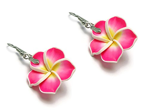 (CHADADA Hawaiian Fimo Plumeria Flower Dangle Earrings Handmade, 25 mm (Deep Pink), EH29)