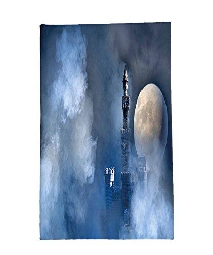 Interestlee Fleece Throw Blanket Modern Decor Fantastic Magical Castle With Grey Cloud Moon Light Eclipse White Blue Grey And Dark Blue