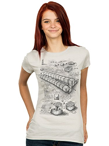 JINX Minecraft Blueprint TNT Cannon Women's Premium Tee Shirt, Silver, XX-Large