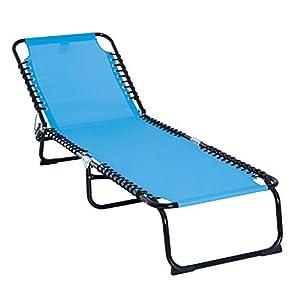 Outsunny Tumbona Plegable y Ajustable de 3 Posiciones Silla Reclinable de Jardín con Sistema de Cordones para Exterior Marco Acero 197x58x76 cm Azul Claro