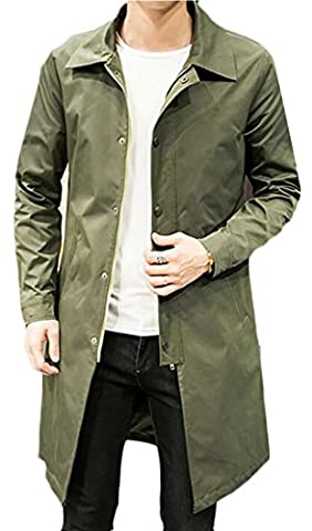 CBTLVSN Men's Casual Slim Autumn Single Breasted Long Trench Coat Blazer Jacket Army green XL - Zipper Trench
