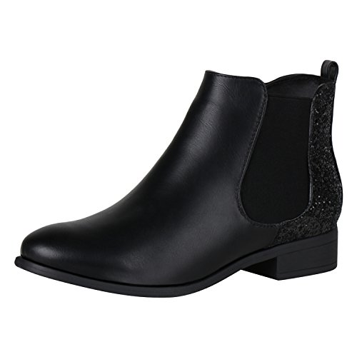 napoli-fashion Damen Stiefeletten Flache Chelsea Boots Leder-Optik Schuhe Gr. 36-41 Jennika Schwarz Glitzer