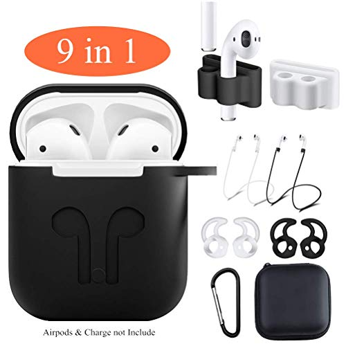 Airpods Case,Jeselry 9 in 1 Airpods Accessories Set,Protective Silicone Cover Skin Compatible Apple Airpods Anti-Lost Strap/Ear Hook/Watch Band Holder/Keychain/Earpods Case (Airpods Case Black)