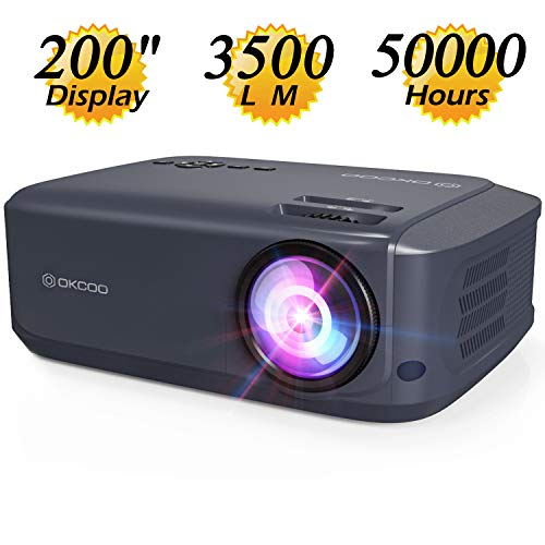 "OKCOO K68HD Video Projector,3500L Portable Home Entertainment Projector 1080P and 200"" Display Supported,Dual HDMI USB Work with TV Box,PC,Laptop,PS4,Smartphones (Blue)"