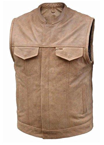 Motorcycle Unik - unik Mens Motorcycle Riding Son of anarcy Tan Saddle Concealed Pockets Leather Vest(Regular L)