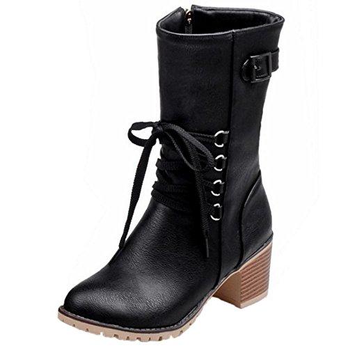 Black COOLCEPT Zipper Stiefel Damen Herbst qqA1wIO