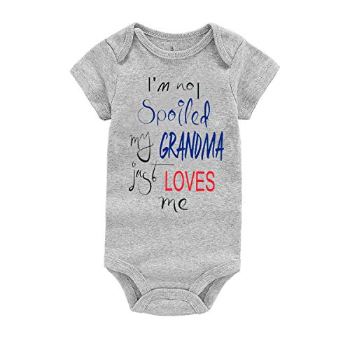 WINZIK Baby Boy Girl Bodysuit Romper Outfit I'm Not Spoiled My Grandma Just Loves Me Infant One-Piece Jumpsuit Shirt Clothing (Tag 9M, Grey Grandma-Short Sleeve)