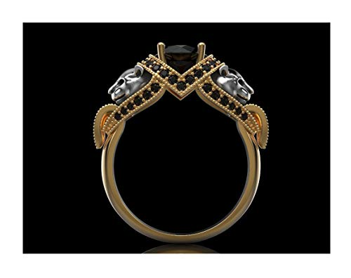 (Panther 14k Yellow Gold Round Black Diamond Women Engagement Wedding Valentine Love Panthere Ring,All US Size 4-12 available,message us your Ring Size)