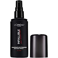"""Keep your makeup looking """"just applied"""" all day: no melting, fading or touch-ups necessary. L'Oreal Paris Infallible Pro-Spray + Set Makeup Setting Spray is a non-comodegenic makeup extender setting spray that locks in your total makeup look,..."""