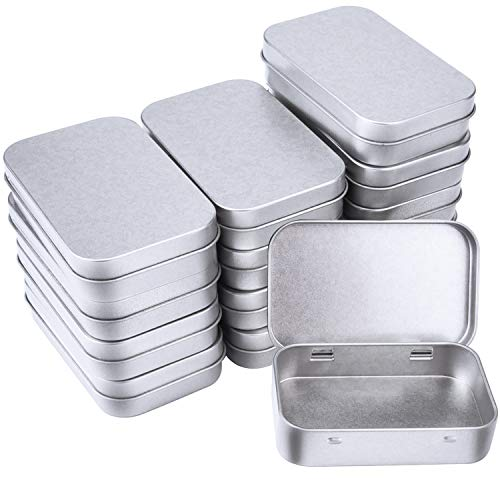 Sunmns Mini Aluminum Box Small Metal Rectangular Empty Hinged Tins Storage Case, Home Organizer Boxes, 14 Pack