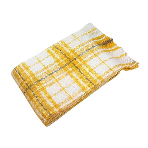 LUXURY EXTRA SUPERSOFT MOHAIR LOOK FEEL GOLD OCHRE KNITTED CHECK THROW BLANKET 130 X 180CM