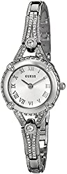 GUESS Women's U0135L1 Petite Crystal-Accented Silver-Tone Watch
