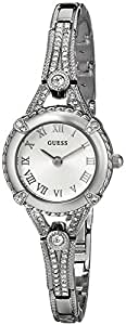 GUESS Women's U0135L1 Petite Silver-Tone Watch with Silver Dial , Crystal-Accented Bezel and Stainless Steel G-Link Band