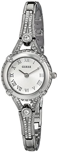 GUESS Womens U0135L1 Petite Vintage-Inspired Crystal-Accented Silver-Tone Watch