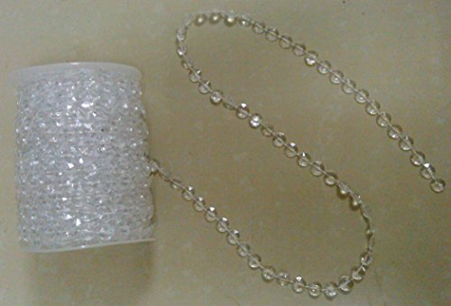 DYQWT 99ft clear crystal beads wedding party chandeliers decorations by roll (Garland Glass Bead)
