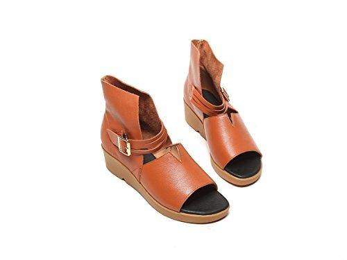 tamaño Estilo Libre cuña al Marrón Roma de Mujeres Zapatos 40 Aire Verano Zapatos Sandalias tacón de DANDANJIE Negro caseros Las otoño de para de marrón Primavera de la 35 Zapatos 67vSqCwx