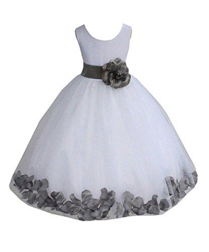 ekidsbridal White Floral Rose Petals Flower Girl Dress Birthday Girl Dress Junior Flower Girl Dresses 302s ()