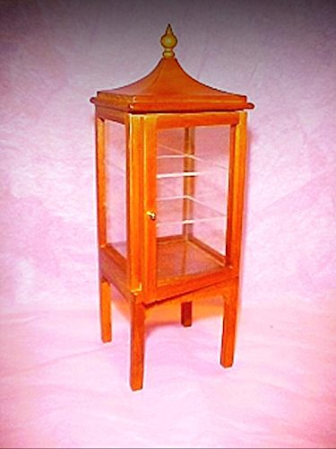 Dollhouse Asian Pagoda Style Display Case Curio Cabinet 1:12 Miniatures - My Mini Garden Dollhouse Accessories for Outdoor or House (Garden Curio)