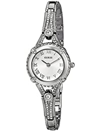 GUESS Women's U0135L1 Petite Silver-Tone Watch with Silver Dial Crystal-Accented Bezel and Stainless Steel G-Link Band