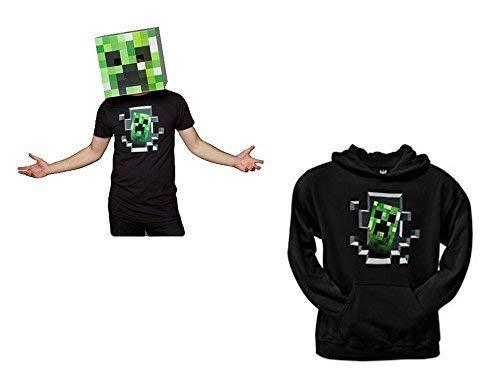Minecraft Creeper Head Green Cardboard Mask and Creeper Inside Hoodie, Black, Medium -
