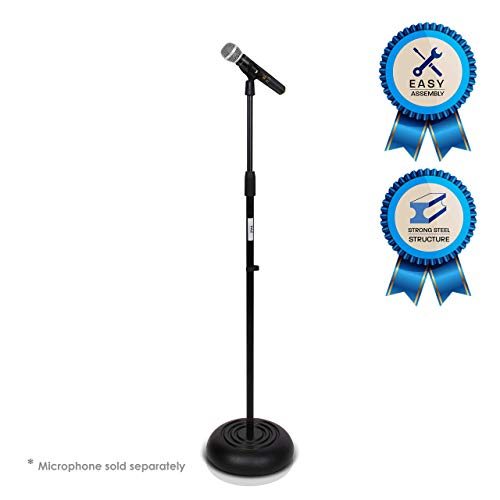 Pyle Microphone Stand - Universal Mic Mount with Heavy Compact Base, Height Adjustable (2.8