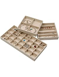 Elegant Jewelry Trays Set of 3 Stackable Jewelry Organizer Trays for Showcasing & Storing Earrings, Bracelets, Necklaces & Rings (Ivory)