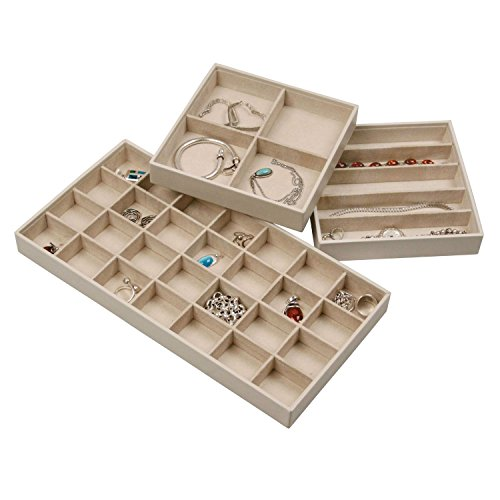 Stock Your Home Stackable Jewelry Organizer Trays for Jewelry Showcase Display & Jewelry Storage Holder for Earrings, Bracelets, Necklaces & Rings – Set of 3