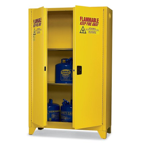 - Eagle 1992LEGS Tower Safety Cabinet for Flammable Liquids, 2 Door Manual Close, 90 gallon, 69