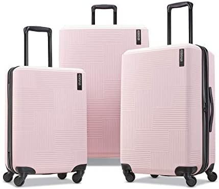 American Tourister Stratum XLT Expandable Hardside Luggage with Spinner Wheels, Pink Blush, Checked-Large 28-Inch