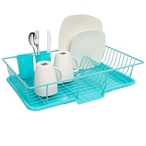 Sweet Home Collection Dish Rack Drainer 3 Piece Set with Drying Board and Utensil Holder, 12″ x 19″ x 5″, Turquoise