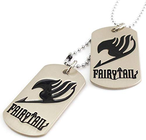 2PCS Khaki Militarys Dog Tags Black Fairy Tail Printed Pendants Long Silver Beads Chain Sweater Necklace
