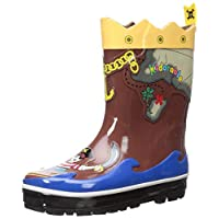 Kidorable Pirate Brown Rubber Rain Boots With Fun Crossbones Pull On Heel Tab