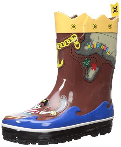 Kidorable Boys' Pirate Rain Boots, Brown, 12 M US Little Kid