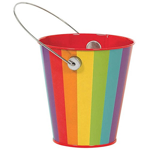 Metal Bucket w/handle | Rainbow | Party Accessory -