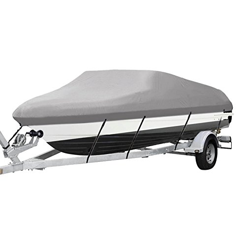 Heavy Duty 600D Waterproof Trailerable Boat Cover with Straps Fits V-Hull Tri-Hull Runabout Fishing Ski Boat 14-16ft beam 90' (14'-16',600D Oxford,Gray)