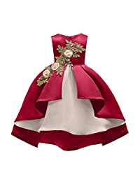 AliceHouse Hi-lo Flower Girls Dresses Wedding Pageant Party Dress Toddlers Ball Gown GD49 Burgundy Size 12