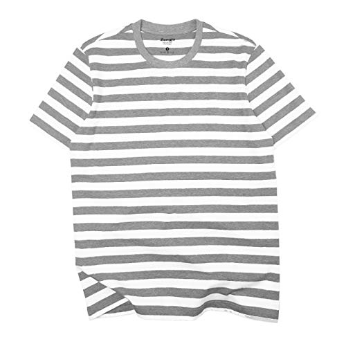 Zengjo Essential Stripes T-Shirts Comfort Short-Sleeve Crew-Neck Striped Tee Top (S, Heather Grey&White -