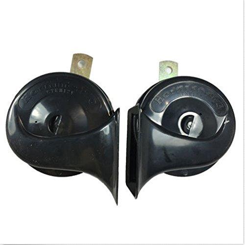 YunShuo 2 Pcs Air Horn Black 12V Loud Car Truck 110DB Dual-tone Snail Electric Universal
