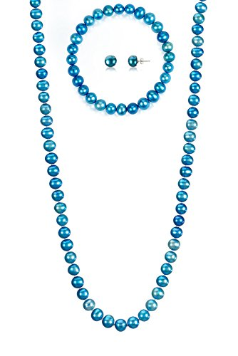 7-7.5mm Cultured Freshwatrer Pearl Necklace Bracelet and Earring Set in .925 Sterling Silver (Blue)