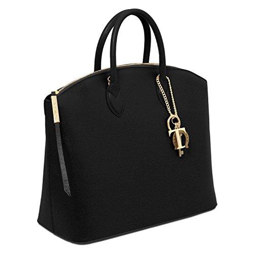 Tuscany Leather - TL KeyLuck - Bolso de mano en piel Saffiano Negro - TL141261/2 Negro