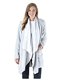 Sleepyheads Women's Ultra Soft Fleece Short Wrap Robe, Long Sleeve Cardigan Bed Jacket, Grey (SH1450-4068-CAN-S/M)