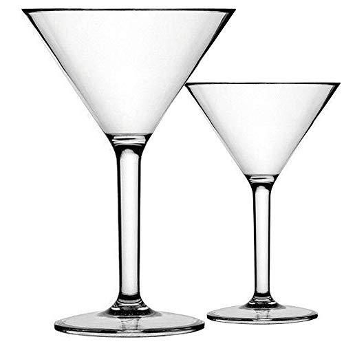 Large Plastic Martini Glasses For Centerpieces (K BASIX Unbreakable Martini Glasses Set of 2 - Polycarbonate - Reusable, 10.2 Ounce - Premium Quality - Gold)