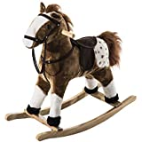 homcom Cavallo a Dondolo Legno con Suono Animale Regalo Giocattolo per i Bambini 74 x 28 x 65cm