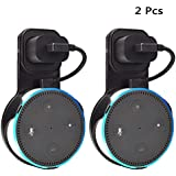 Outlet Wall Mount Holder Stand 2 Packs for Echo Dot 2nd Generation Plug in Study, Kitchen, Bedroom, Bathroom (Short Cable Included, Black)