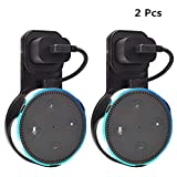 Outlet Wall Mount Holder Stand 2 Packs for Home Voice Assistants 2nd Generation Plug in Study, Kitchen, Bedroom, Bathroom (Short Cable Included, Black)