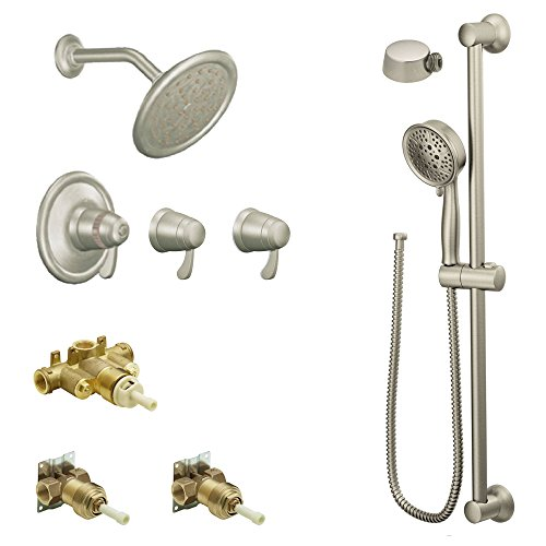 Moen KSPEX-H-TS270BN 7-Inch Rainshower Vertical Spa Kit with Handheld Shower and Slide Bar, Brushed Nickel (Bar Thermostatic Valve Shower)
