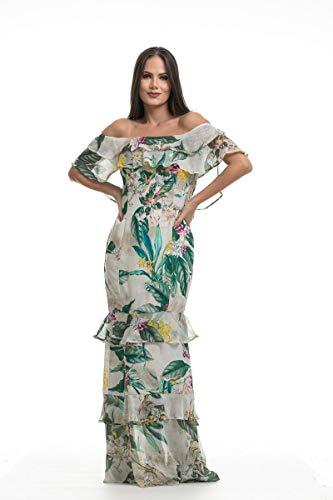 bccbacd86 Vestido Clara Arruda Longo Ombro A Ombro Estampado 50349 - P - Floral Branco