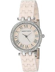 Anne Klein Womens AK/2201LPSV Swarovski Crystal Accented Light Pink Ceramic Bracelet Watch