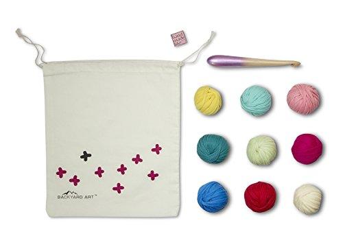 Crochet DIY Gift Kit in Moxie Mix - Comes with a Hook, Coaster Pattern with Full Video, Bonus Enamel Pin in a Drawstring Bag - Deluxe Bonbon Love T-Shirt Zpagetti Fettuccini Style Yarn by Backyard Art